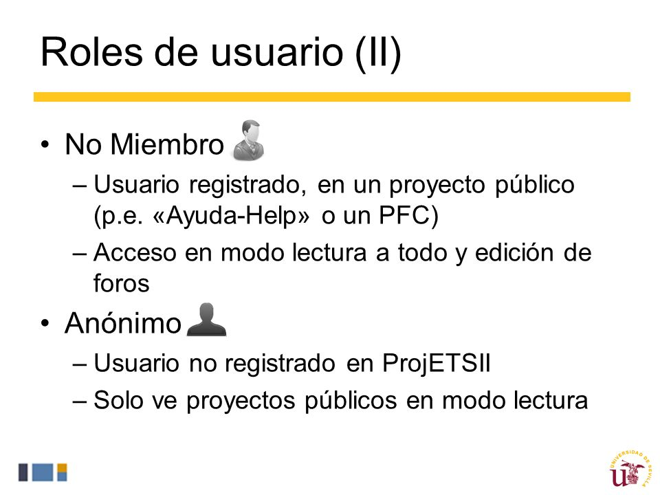 Roles de usuario (II) No Miembro Anónimo