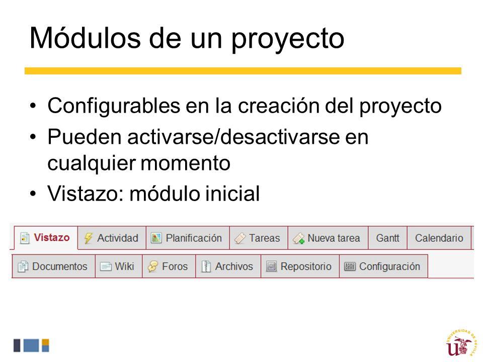 Módulos de un proyecto Configurables en la creación del proyecto
