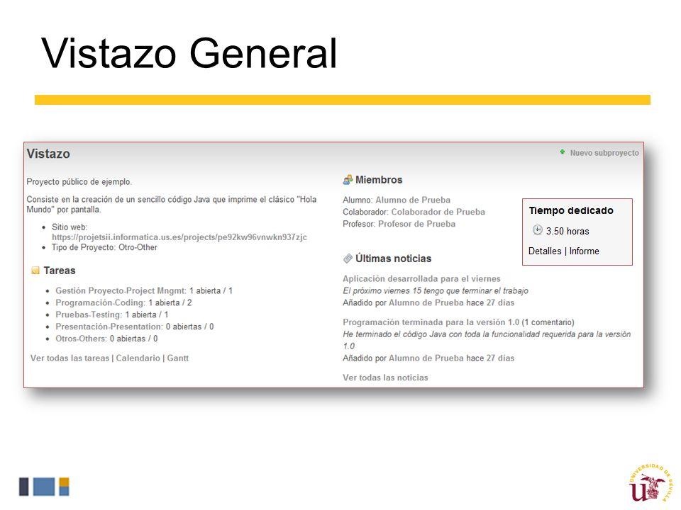 Vistazo General La sesión «Vistazo» permite al usuario tener una visión general del proyecto entero.