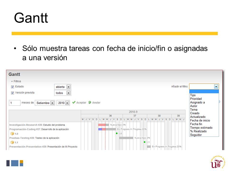 Gantt Sólo muestra tareas con fecha de inicio/fin o asignadas a una versión.