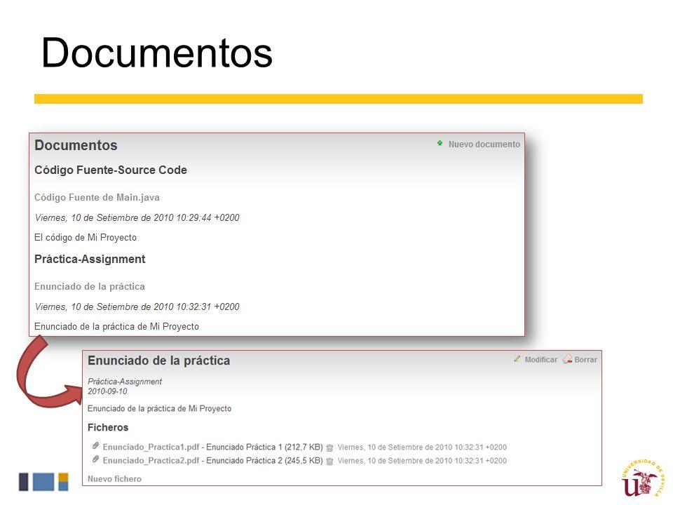 Documentos Un documento en ProjETSII no es más que la agrupación de varios ficheros en un nombre y una descripción genérica.