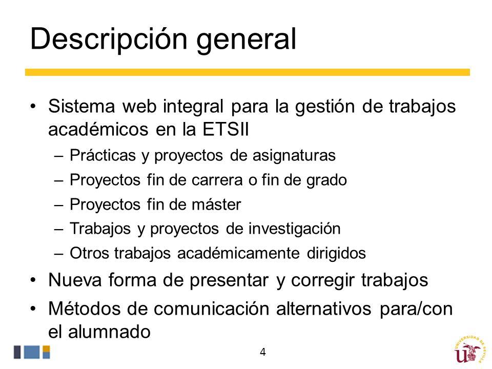 Descripción general Sistema web integral para la gestión de trabajos académicos en la ETSII. Prácticas y proyectos de asignaturas.