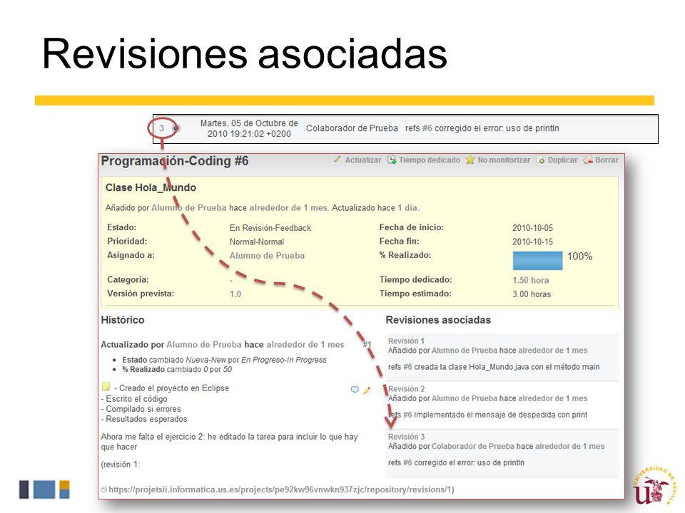 Revisiones asociadas Una acción fundamental de ProjETSII para implementar la trazabilidad es la asociación entre revisiones y tareas.