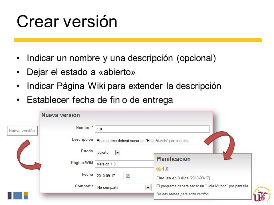 Crear versión Indicar un nombre y una descripción (opcional)