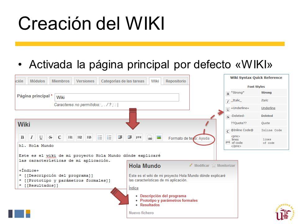 Creación del WIKI Activada la página principal por defecto «WIKI»