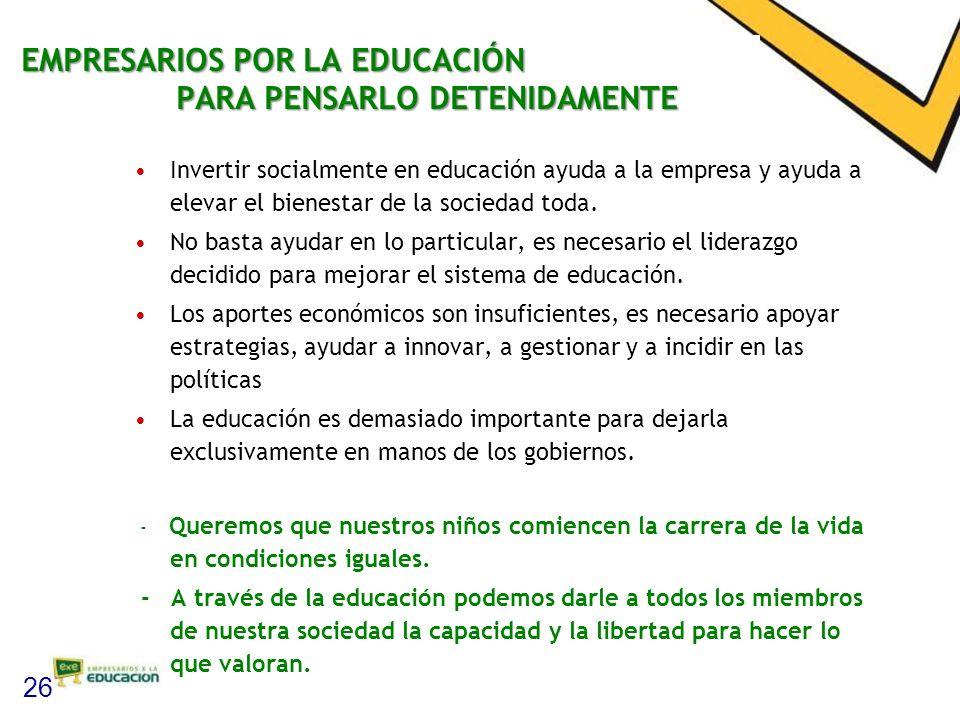 EMPRESARIOS POR LA EDUCACIÓN PARA PENSARLO DETENIDAMENTE