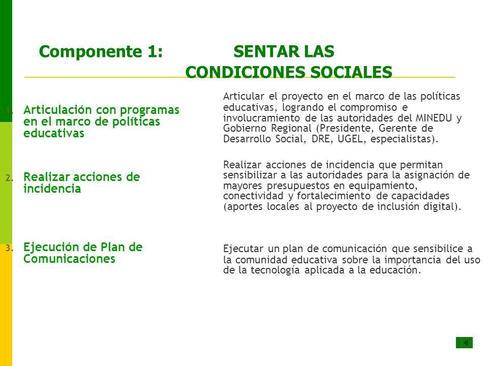 Componente 1: SENTAR LAS CONDICIONES SOCIALES