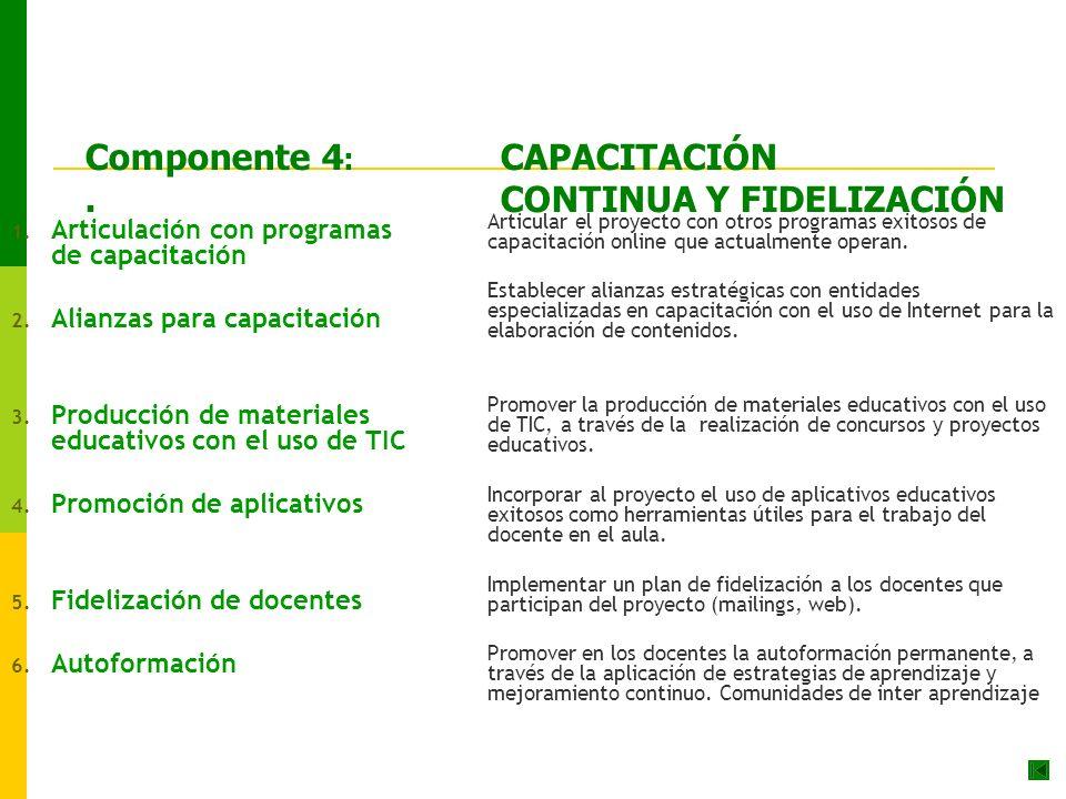 Componente 4: CAPACITACIÓN . CONTINUA Y FIDELIZACIÓN