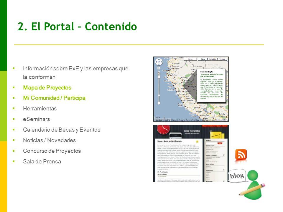 2. El Portal – Contenido Información sobre ExE y las empresas que la conforman. Mapa de Proyectos.