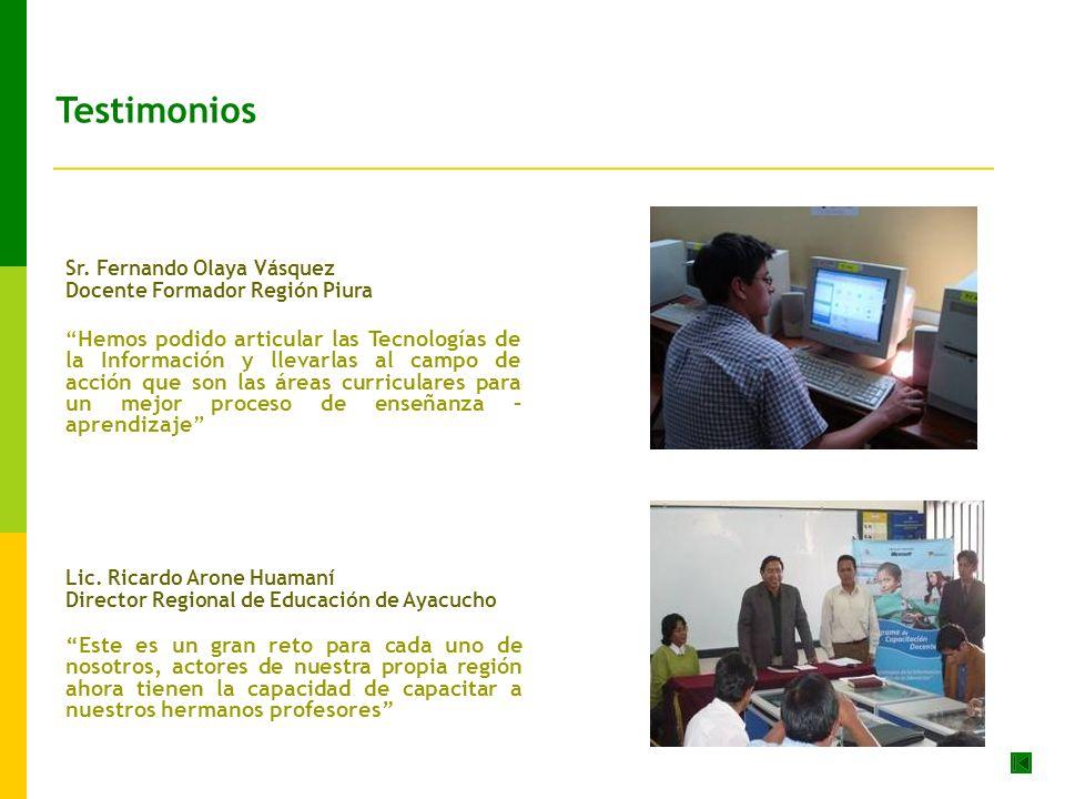 Testimonios Sr. Fernando Olaya Vásquez. Docente Formador Región Piura.