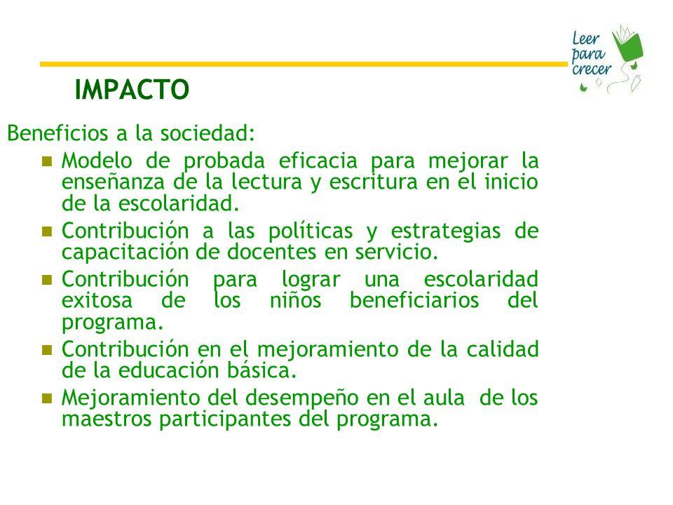 IMPACTO Beneficios a la sociedad:
