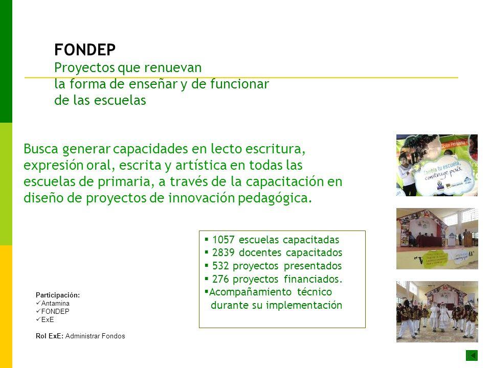 FONDEP Proyectos que renuevan la forma de enseñar y de funcionar de las escuelas