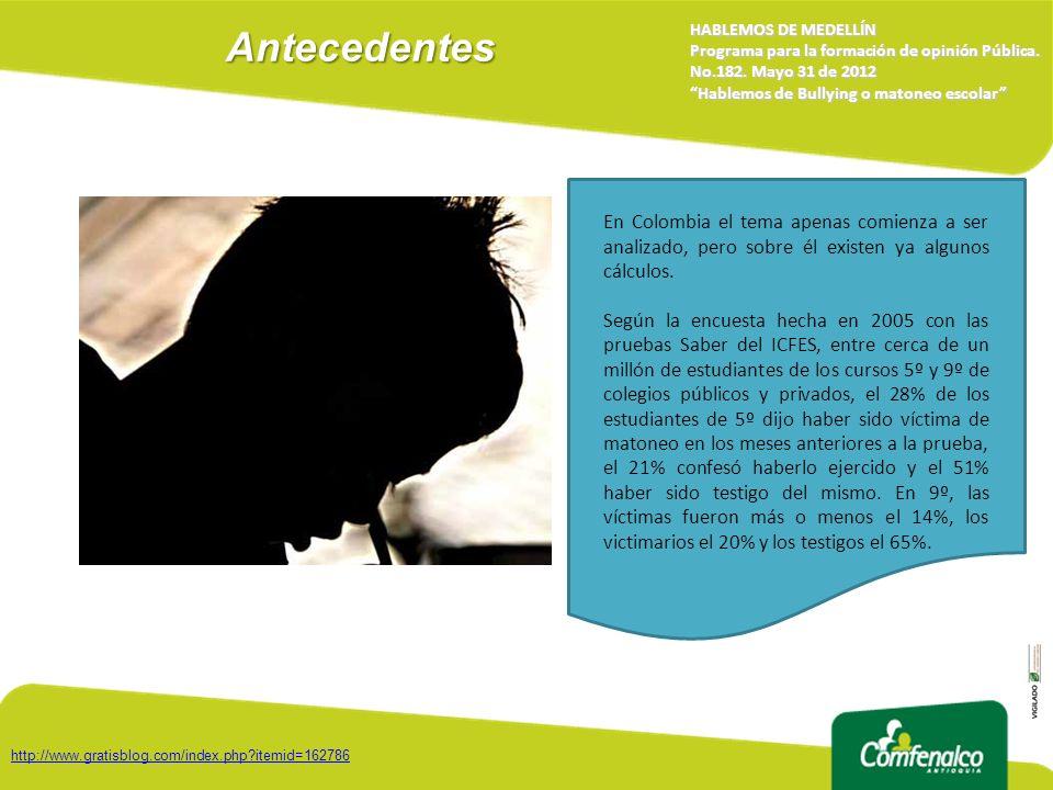 Antecedentes HABLEMOS DE MEDELLÍN. Programa para la formación de opinión Pública. No.182. Mayo 31 de 2012.