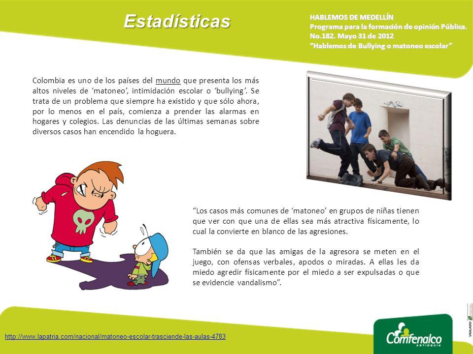 Estadísticas HABLEMOS DE MEDELLÍN. Programa para la formación de opinión Pública. No.182. Mayo 31 de 2012.