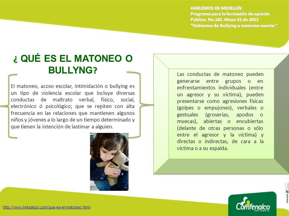 ¿ QUÉ ES EL MATONEO O BULLYNG
