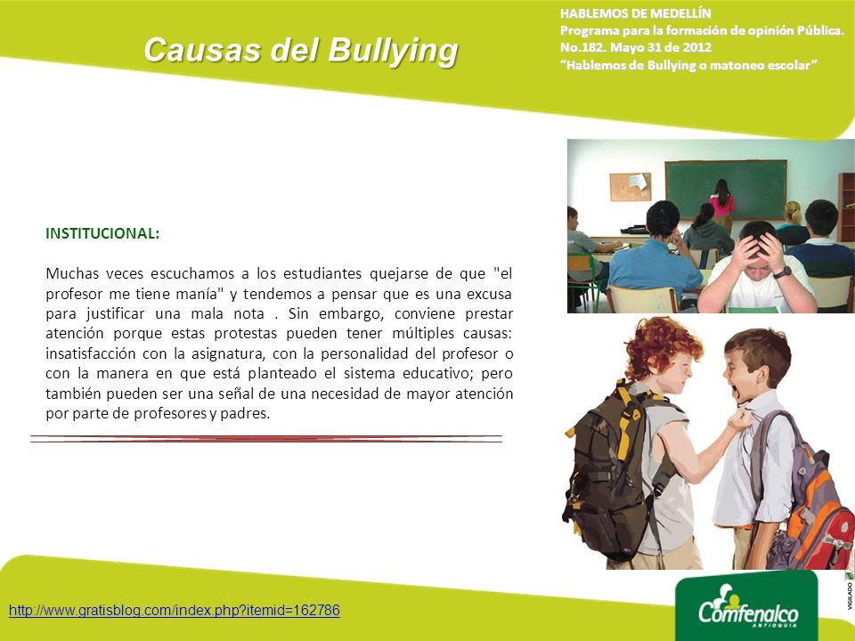 Causas del Bullying INSTITUCIONAL: