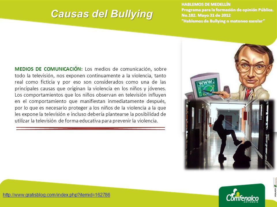 Causas del Bullying HABLEMOS DE MEDELLÍN. Programa para la formación de opinión Pública. No.182. Mayo 31 de 2012.