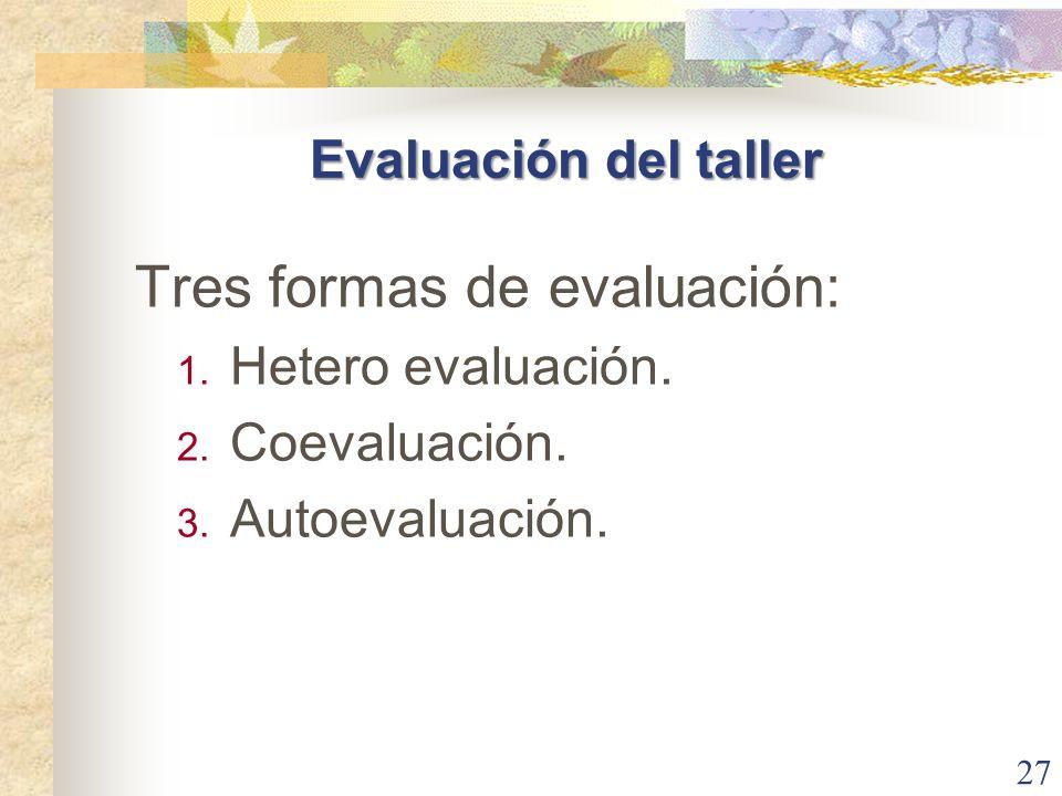 Tres formas de evaluación: