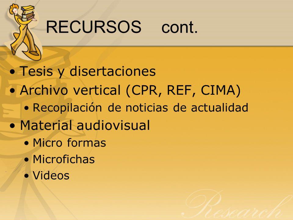 RECURSOS cont. Tesis y disertaciones Archivo vertical (CPR, REF, CIMA)
