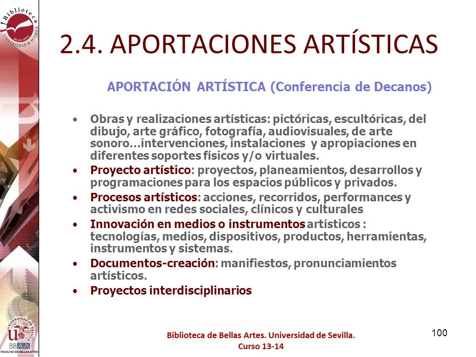 2.4. APORTACIONES ARTÍSTICAS