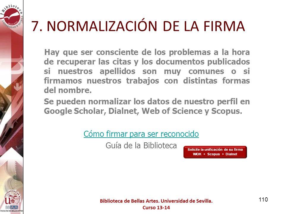 7. NORMALIZACIÓN DE LA FIRMA