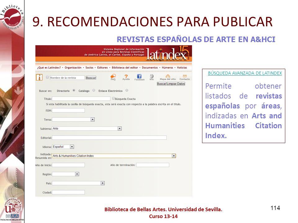 9. RECOMENDACIONES PARA PUBLICAR