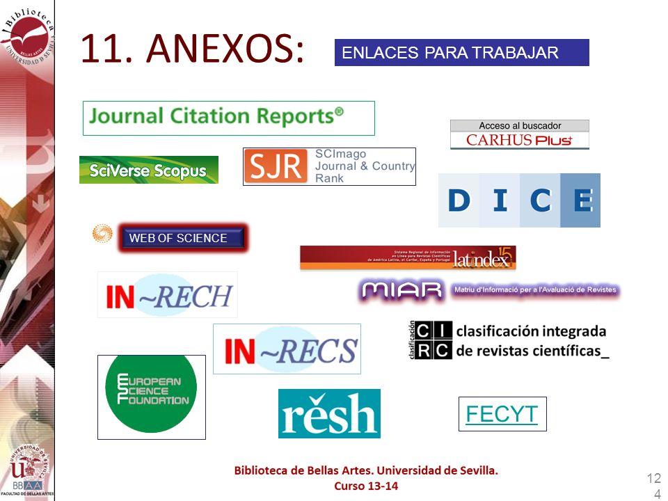 11. ANEXOS: ENLACES PARA TRABAJAR WEB OF SCIENCE FECYT