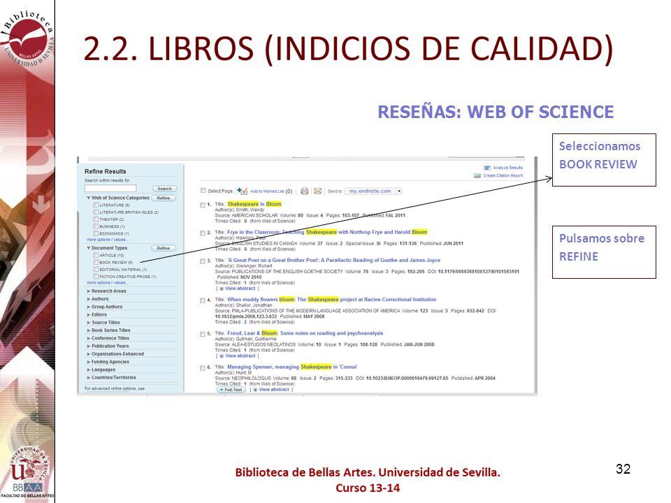 RESEÑAS: WEB OF SCIENCE