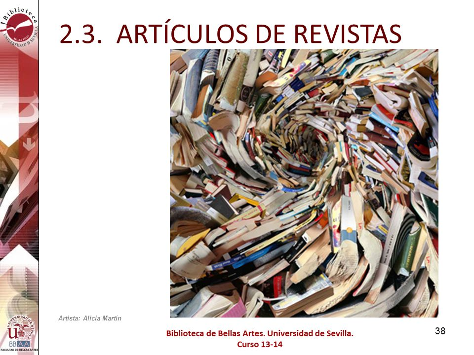 2.3. ARTÍCULOS DE REVISTAS Artista: Alicia Martín