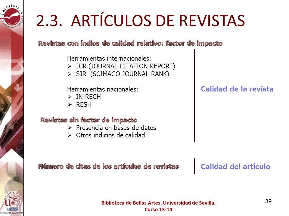 2.3. ARTÍCULOS DE REVISTAS Calidad de la revista Calidad del artículo