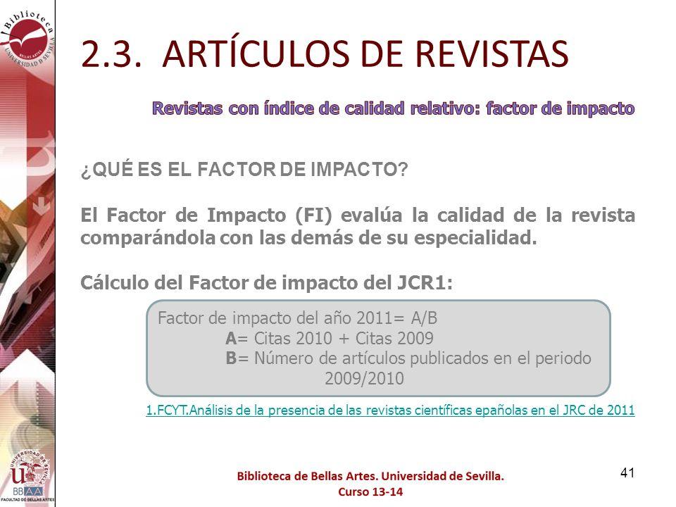 2.3. ARTÍCULOS DE REVISTAS ¿QUÉ ES EL FACTOR DE IMPACTO