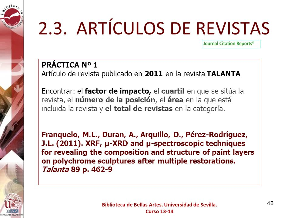 PRÁCTICA Nº 1 Artículo de revista publicado en 2011 en la revista TALANTA.
