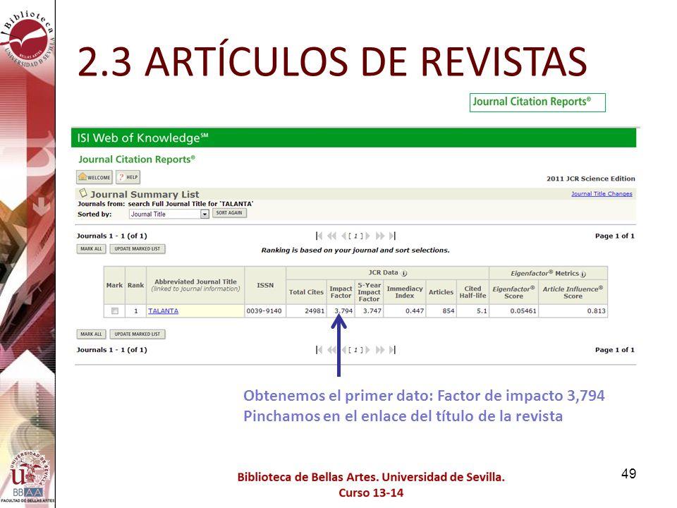 2.3 ARTÍCULOS DE REVISTAS Obtenemos el primer dato: Factor de impacto 3,794 Pinchamos en el enlace del título de la revista.