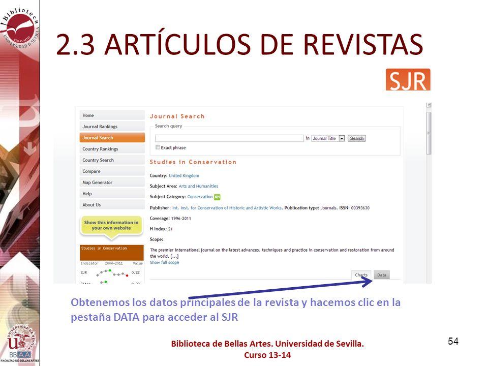 2.3 ARTÍCULOS DE REVISTAS Obtenemos los datos principales de la revista y hacemos clic en la pestaña DATA para acceder al SJR.