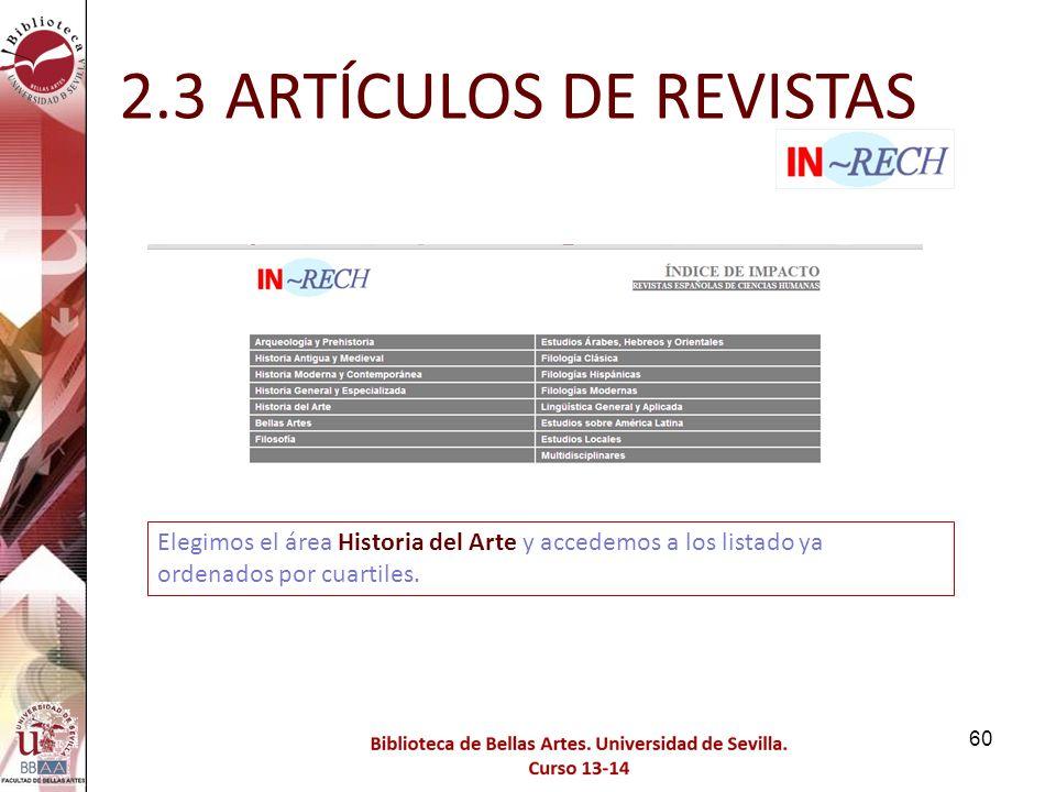 2.3 ARTÍCULOS DE REVISTAS Elegimos el área Historia del Arte y accedemos a los listado ya ordenados por cuartiles.