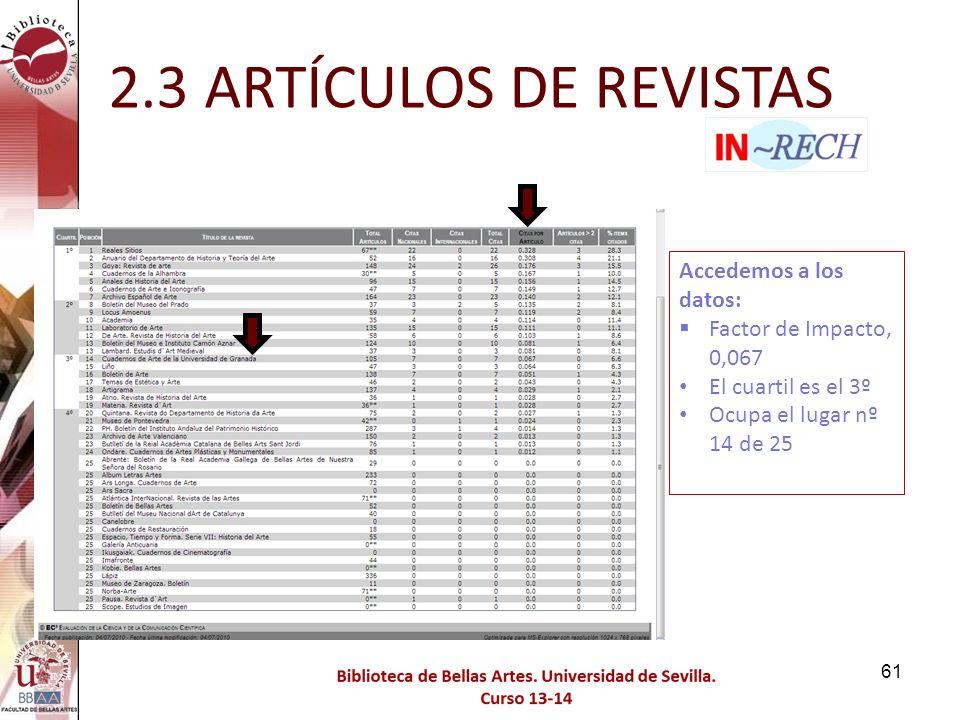 2.3 ARTÍCULOS DE REVISTAS Accedemos a los datos: