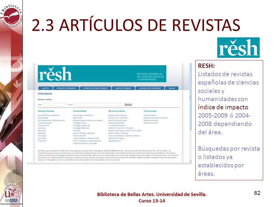 2.3 ARTÍCULOS DE REVISTAS RESH: