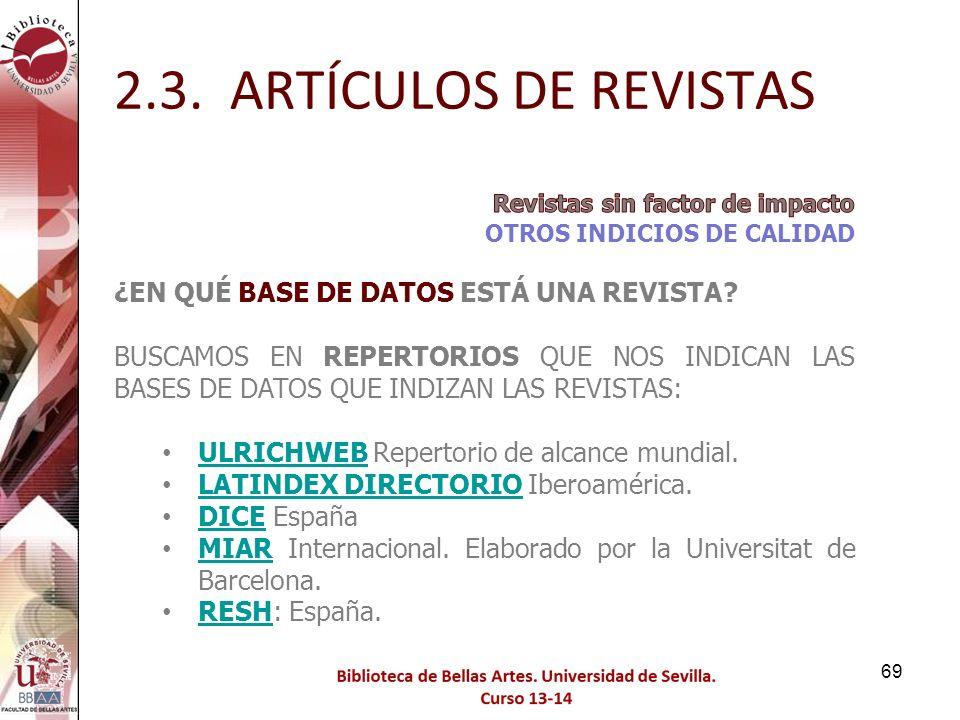 2.3. ARTÍCULOS DE REVISTAS ¿EN QUÉ BASE DE DATOS ESTÁ UNA REVISTA