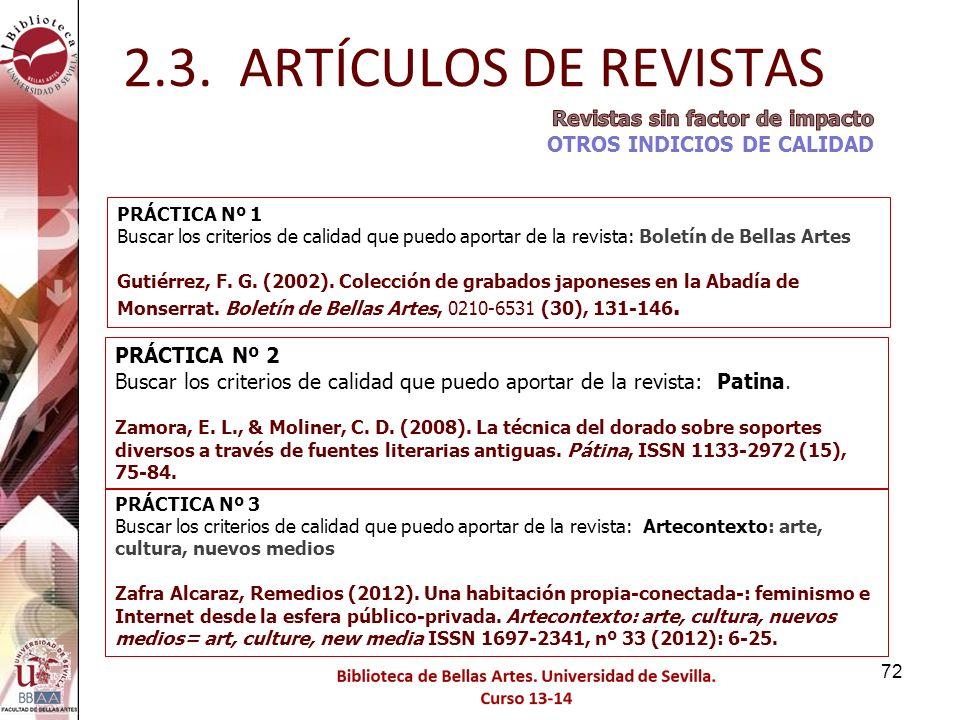 2.3. ARTÍCULOS DE REVISTAS Revistas sin factor de impacto