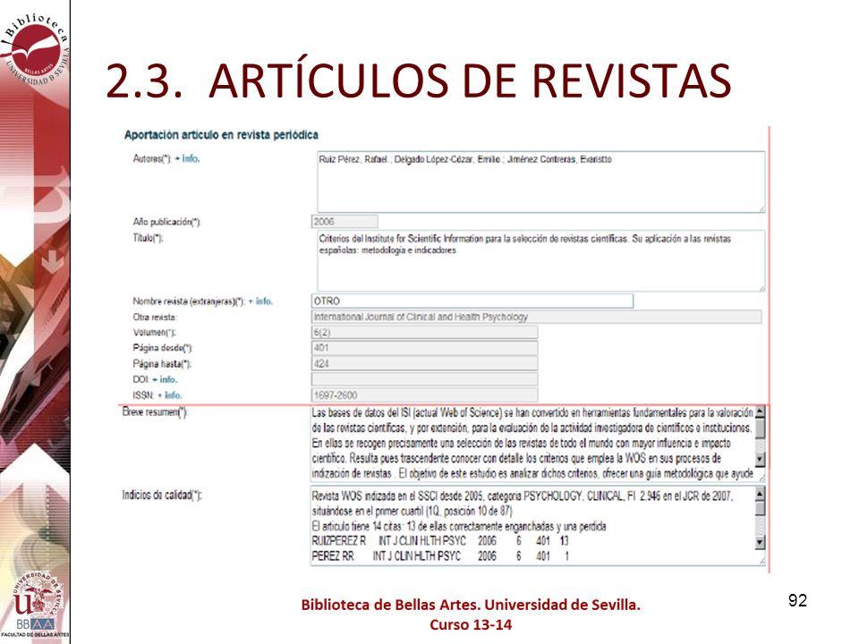 2.3. ARTÍCULOS DE REVISTAS