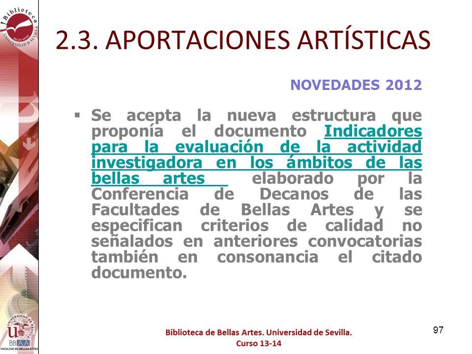 2.3. APORTACIONES ARTÍSTICAS
