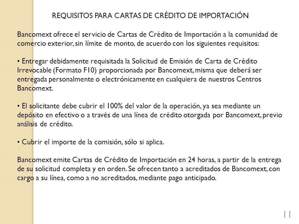REQUISITOS PARA CARTAS DE CRÉDITO DE IMPORTACIÓN
