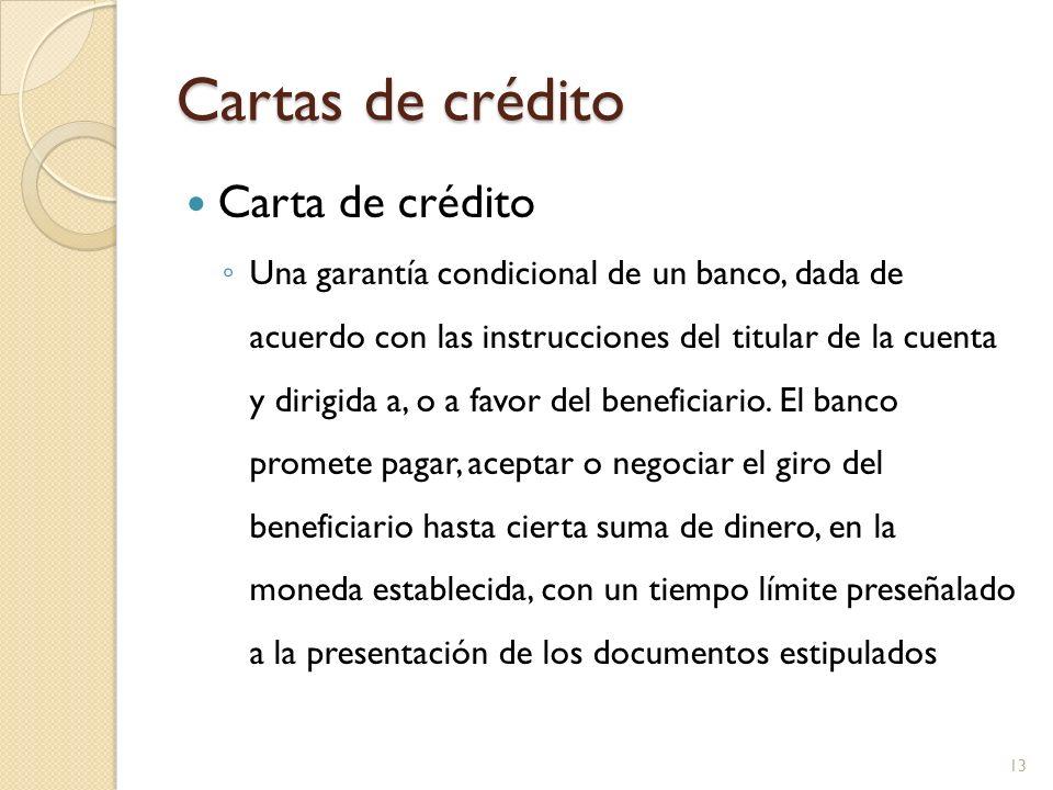 Cartas de crédito Carta de crédito