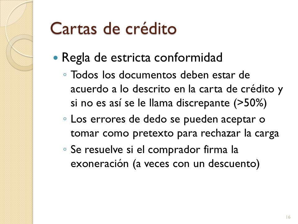Cartas de crédito Regla de estricta conformidad