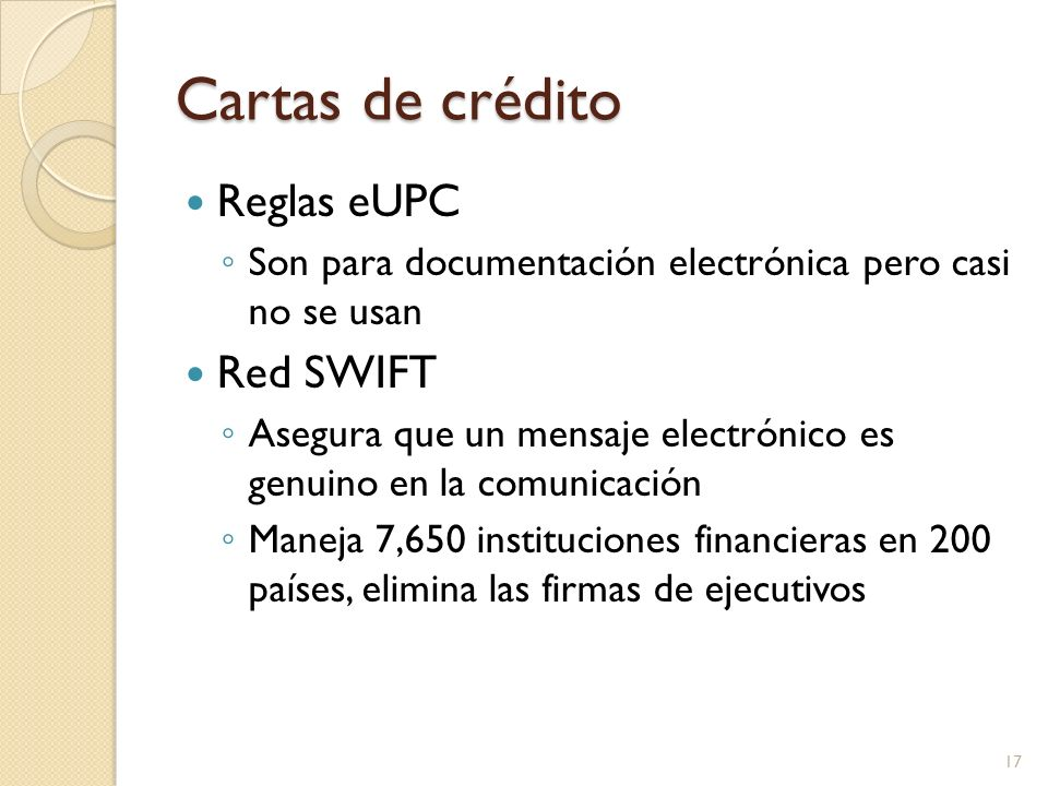 Cartas de crédito Reglas eUPC Red SWIFT