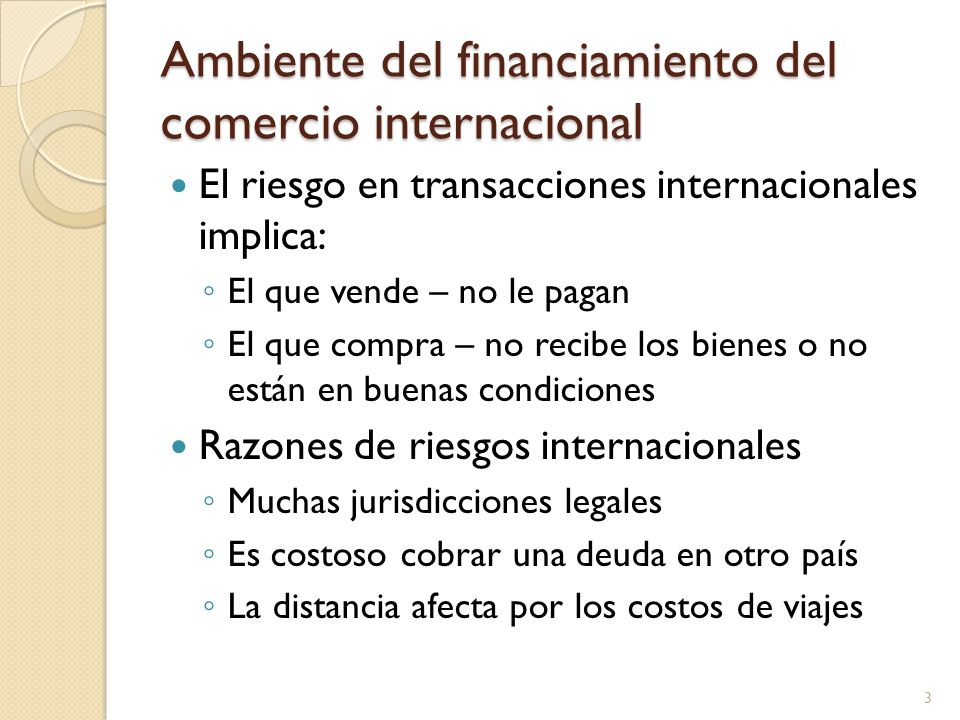 Ambiente del financiamiento del comercio internacional