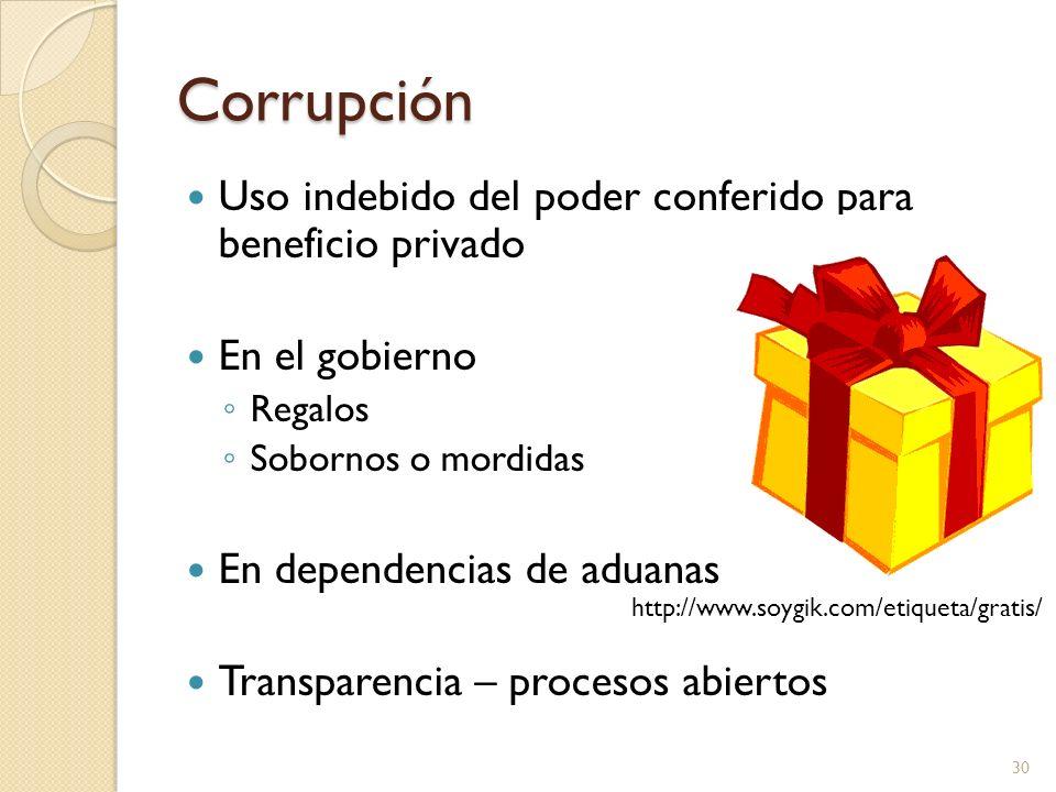 Corrupción Uso indebido del poder conferido para beneficio privado