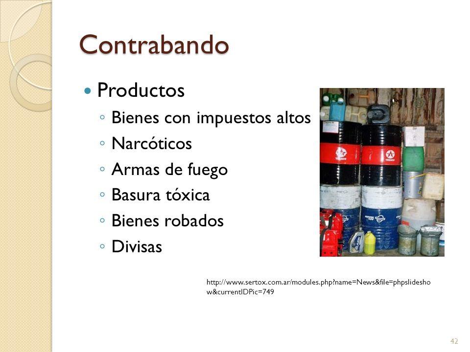 Contrabando Productos Bienes con impuestos altos Narcóticos
