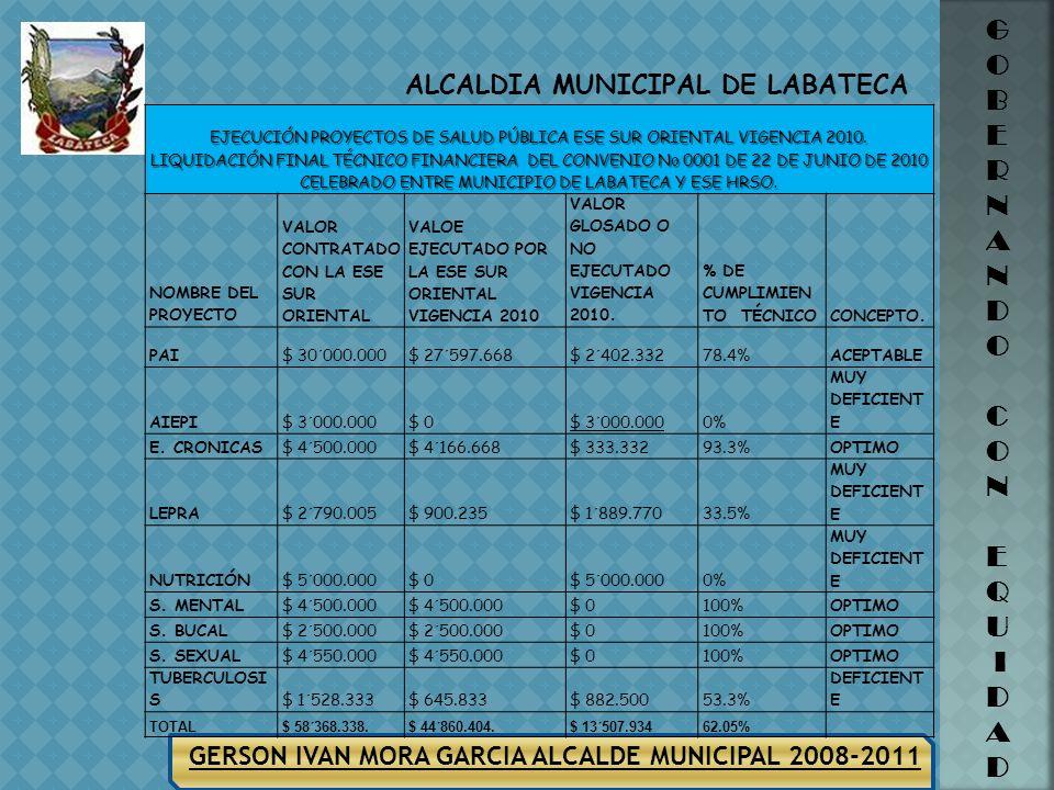 EJECUCIÓN PROYECTOS DE SALUD PÚBLICA ESE SUR ORIENTAL VIGENCIA 2010.