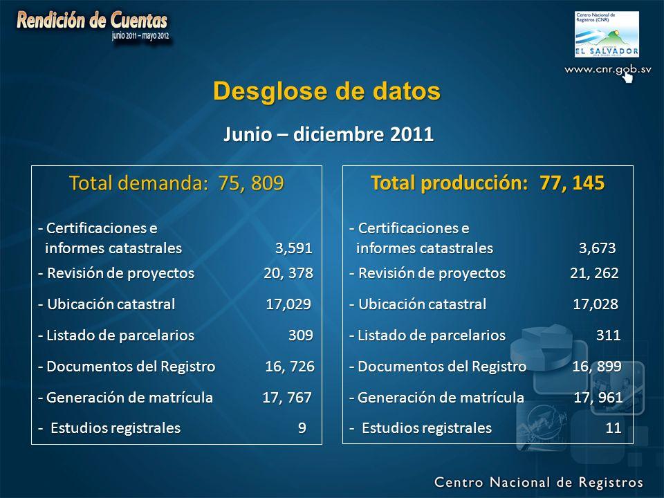 Desglose de datos Junio – diciembre 2011 Total demanda: 75, 809